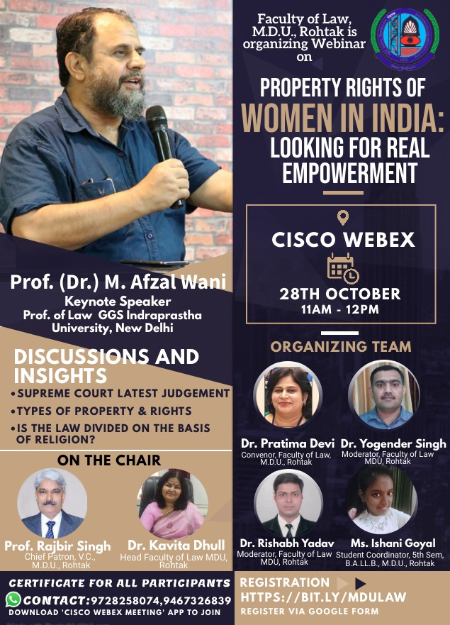 Webinar by Faculty of Law, M.D.U., Rohtak: Property Rights of Women In India